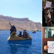 Armed Taliban fighters ride PEDALOS on lake in Afghanistan