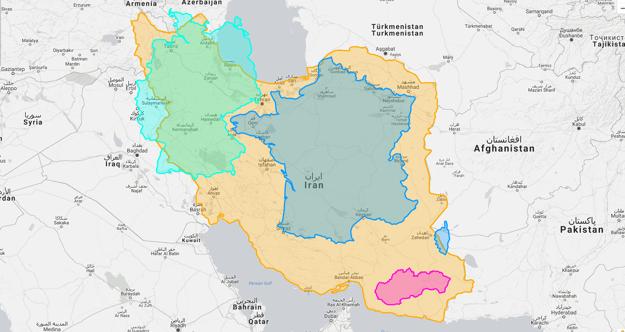 Rozloha: Irán v porovnaní s Nemeckom, Francúzskom a Slovenskom