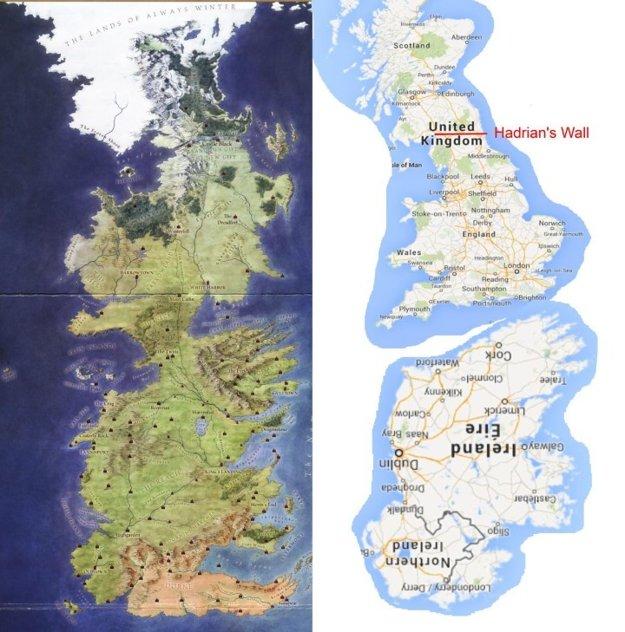 Porovnanie Westerosu a Britských ostrovov