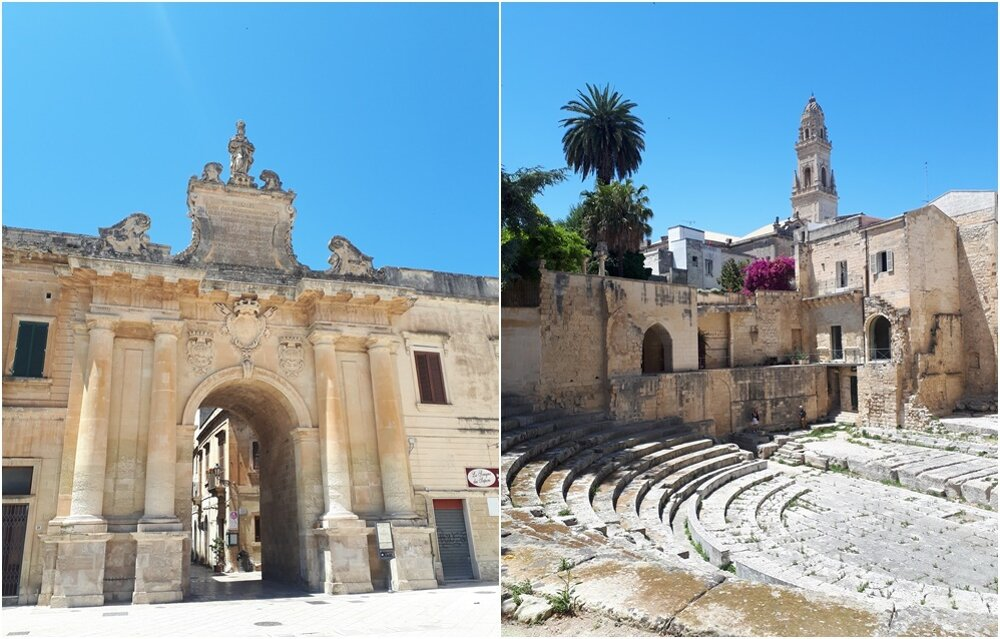 Brána do historického centra Lecce a rímsky amfiteáter.