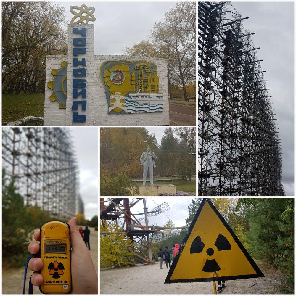 Vjazd do mesta Černobyľ a radarová stanica Duga 1.