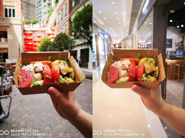To isté jedlo v prirodzenom svetle a v umelom svetle.
