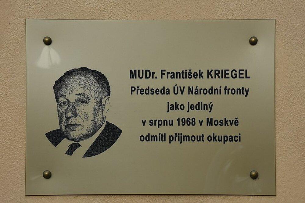 In memoriam František Kriegel, Škrétova 44/6, Praha.