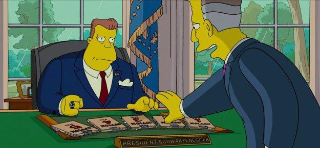 Prezident Schwarzenegger rozhoduje o osude Springfieldu.