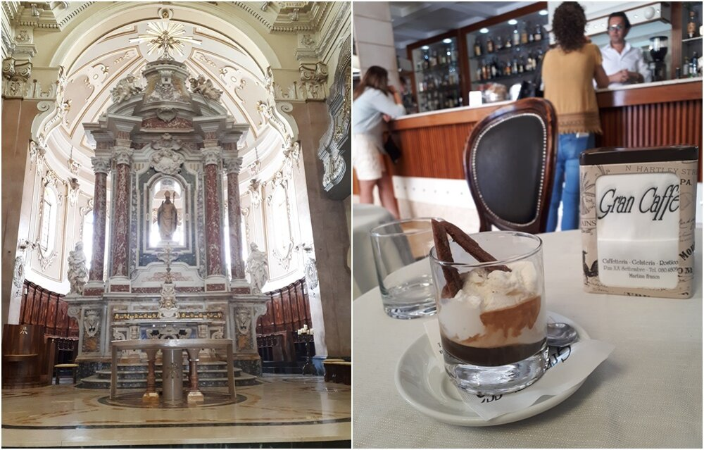 Oltár v Basilica di San Martino a káva v Gran Caffé.