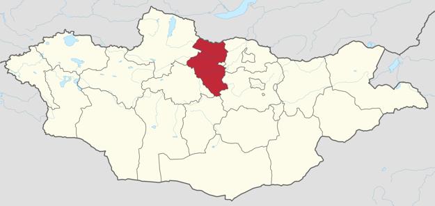 Červeným vyznačený aimag Bulgan, ktorého rozloha je takmer ako Slovensko, s počtom obyvateľov ako Trenčín.