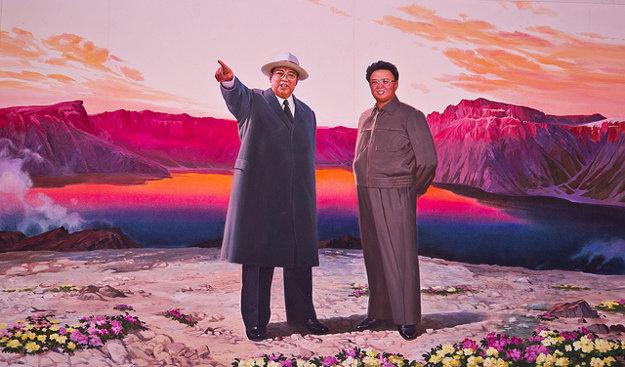 Kim Ir-sen a Kim Čong-il na hore Pektusan