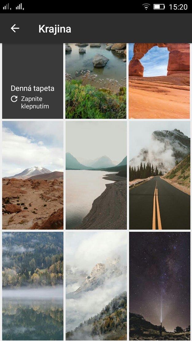 Pohľad na zopár pôsobivých tapiet, ktoré aplikácia ponúka