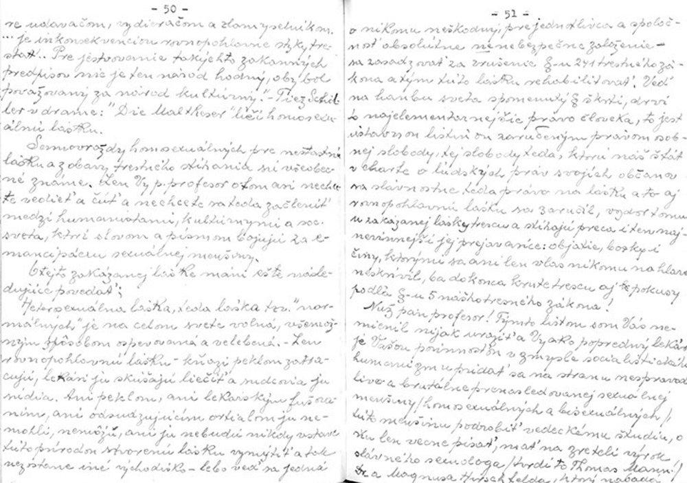 Ukážka Matyášovho rukopisu.