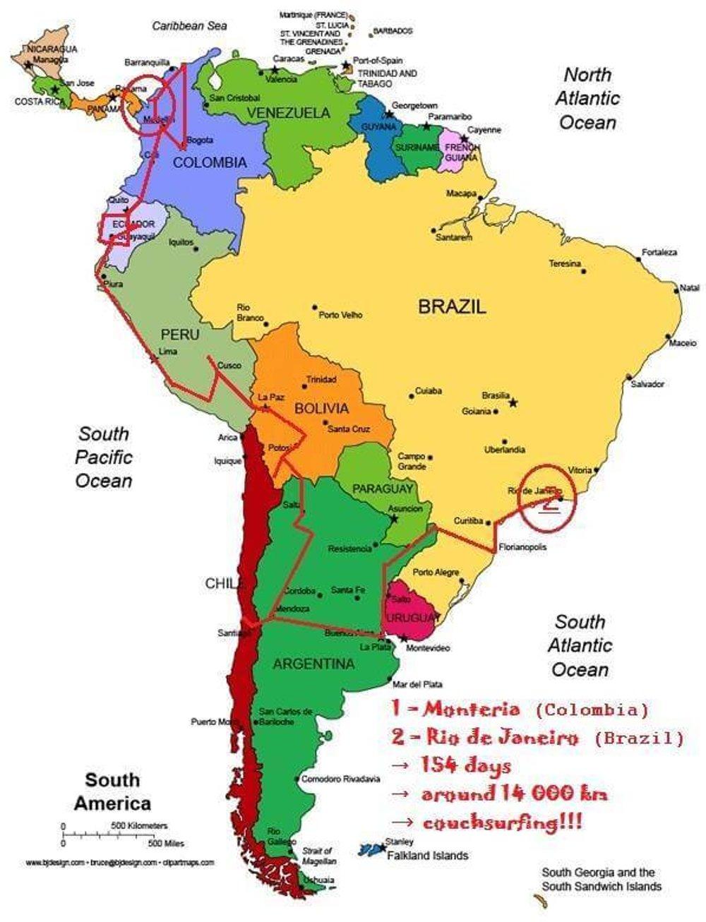 Itinerár cesty po Južnej Amerike