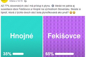 Odviazali sa aj plynári - stránka SPP - distribúcia uverejnila na Facebooku anketu, v ktorej si ľudia mohli tipnúť, či bola skôr plynofikovaná obec Hnojné alebo Fekišovce.