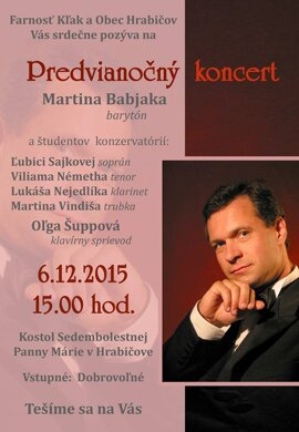 Predvianočný koncert Martina Babjaka.