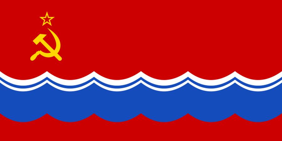 Vlajka Estónska počas sovietskej okupácie.