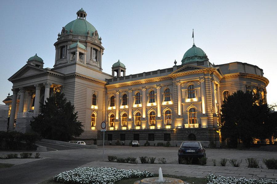 Budova srbského parlamentu v Belehrade.