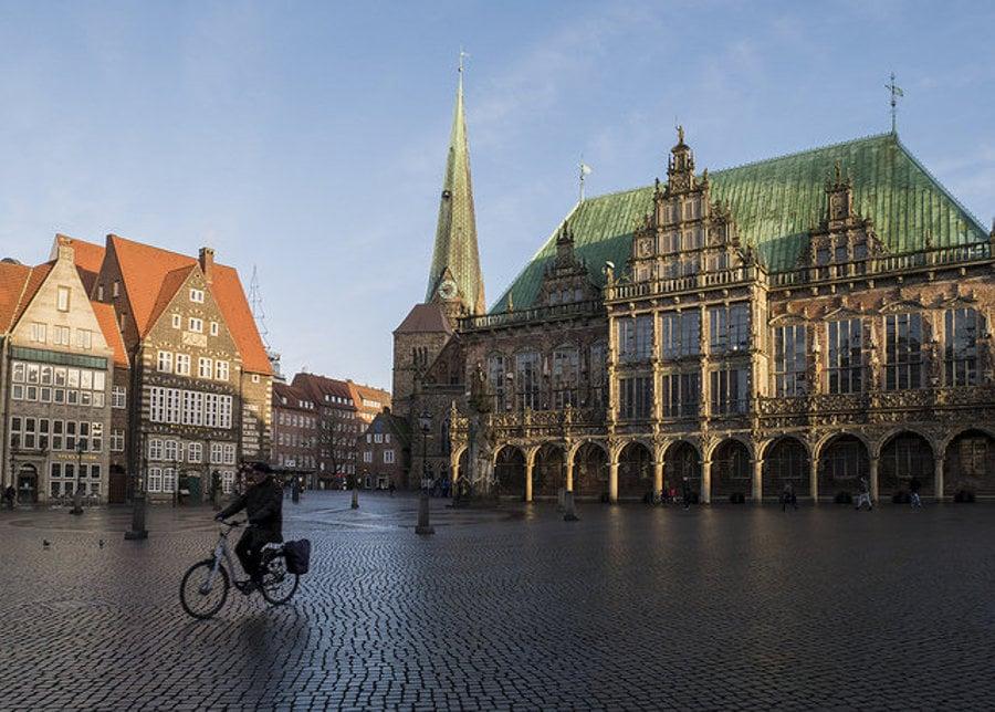 Brémy. Renesančná radnica na námestí Marktplatz.