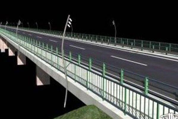 Vizuál nového cestného mosta cez Váh v Trenčíne.