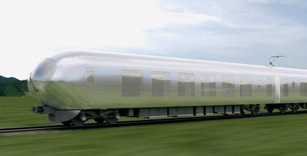Zrkadlový povrch vlaku bude odrážať svoje okolie a vlak sa stane takmer neviditeľný.