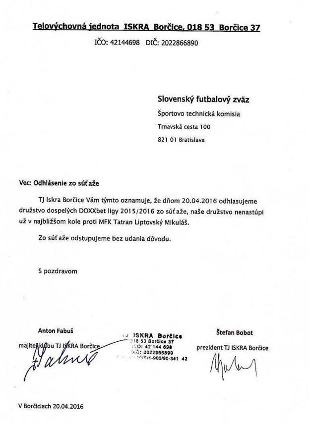 Oficiálny dokument, ktorým Iskra spečatila odstúpenie z druhej najvyššej futbalovej súťaže.