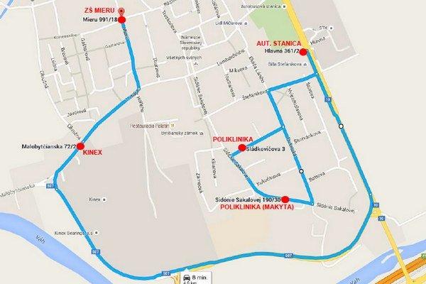 Mapa trasy a zastávok autobusu.