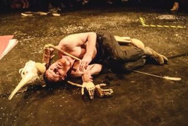 Umelecká skupina Med a prach uviedla v piatok na festivale  pohybovo-hudobno-vizuálne scénické dielo Domov Eros Viera.