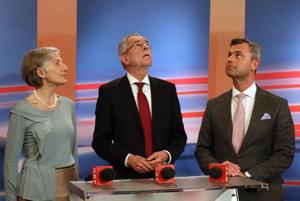 Zľava: Ingmar Grissová, Alexander van der Bellen a Norbert Hofer.