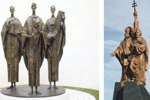 Víťazný návrh od Antona Gabríka z Modry, ktorý by mal stáť na Hurbanovom  námestí (vľavo) a komárňanské súsošie na kruhovom objazde (vpravo).