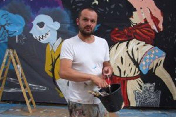 Erik Šille. Jeho nadrozmerný obraz vznikal tri týždne. My sme ho zastihli krátko pred dokončením.