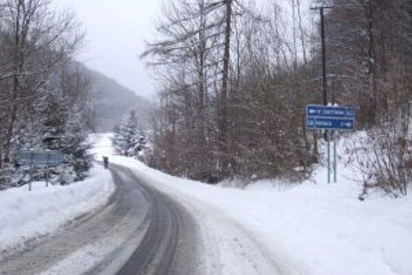 Príjazdová cesta do Janovej Lehoty. Včera ráno bola zaviata snehom, sprejazdnili ju okolo deviatej.