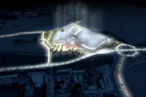 Vizualizácia plánovanej multifunkčnej haly Danube Arena. Projekt terajší krajskí poslanci zastavili, kontrolór kraja prípad stále preveruje.