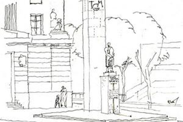 Skica urbanistu Bohumila Kováča so sochou s dvoma pylónmi.