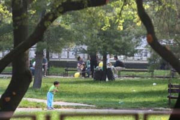 Dobrovoľníci  žiakov s telesným postihnutím zoberú na vychádzku do mestského parku.