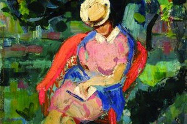 Sediaca žena s knihou (1940, plátno, olej).