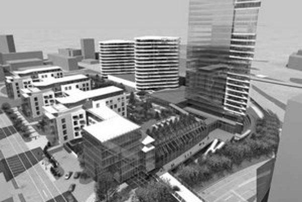 Na mieste chátrajúceho areálu Centrál má byť dvojposchodové nákupné centrum. Z neho vystupujú jednotlivé bloky – štyri obytné domy, dve polyfunkčné budovy a jedna výšková. Na vizualizácii je vľavo Jelačičova ulica, vpravo Miletičova, vpravo hore Trnavské