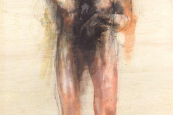 Juraj Puchovský: Bez názvu (2002, uhoľ, tempera, vypaľovanie, preglejka, 215 x 122 cm).