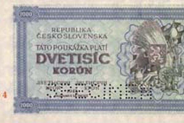 Dvetisíc korún. Československo 1945. Poukážka platila len 66 dní, bola v obehu od 24. augusta 1945 do 31. októbra 1945.