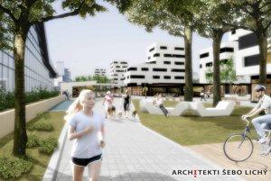Vizualizácia ako by priestor okolo Auparku vyzeral po prestavbe.