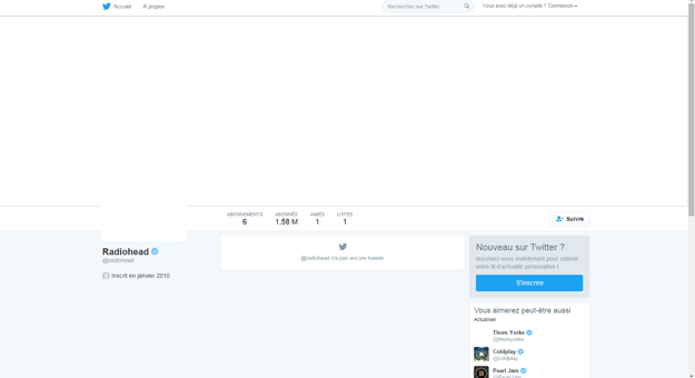 Takto vyzerá od soboty twitter kapely Radiohead.