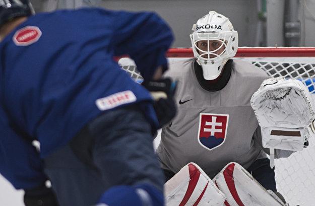 Brankár slovenskej hokejovej reprezentácie Branislav Konrád.