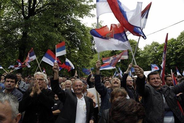 Demonštrácia bosnianskych Srbov (ilustračné foto).