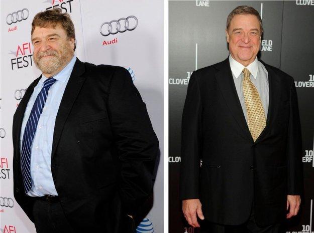 John Goodman v roku 2014 a o rok neskôr po schudnutí o 50 kíl.