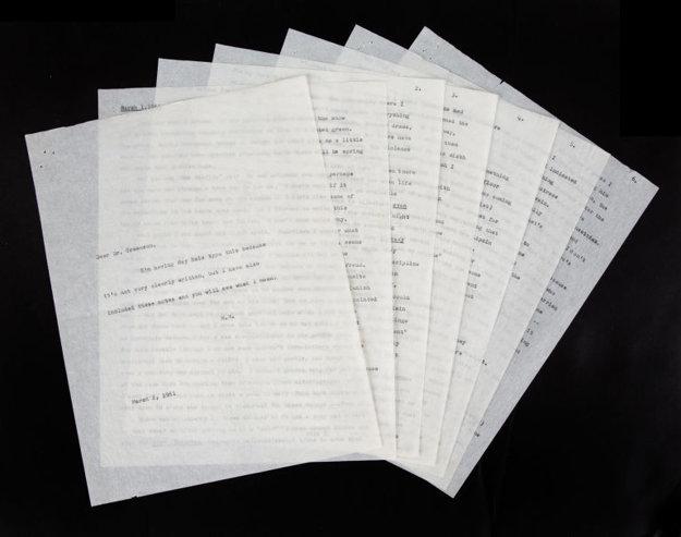 Šesť strán skľučujúcich slov a úhľadná titulka listu.
