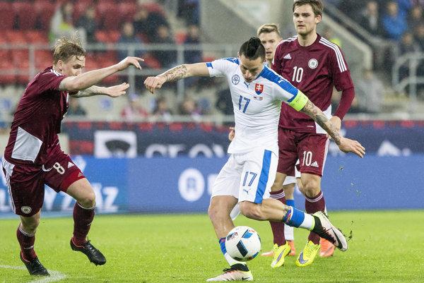 Priateľský zápas Slovensko - Lotyšsko v Trnave.