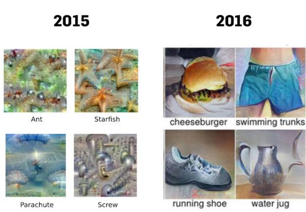 Rozdiel medzi generovanými obrázkami z Deep Dream v roku 2015 a 2016.