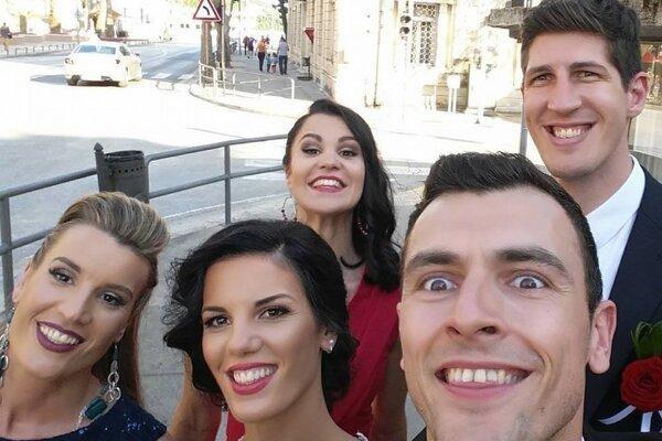 Selfie zo svadby Marka Batinu.