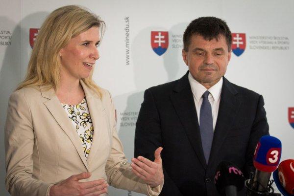Ministerka školstva ČR Kateřina Valachová a minister školstva SR Peter Plavčan.