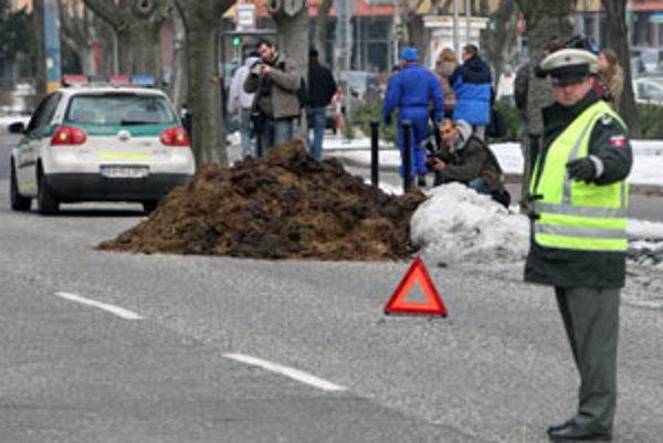 Dopravu okolo kopy hnoja riadila polícia.