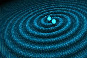 Zrážka telies s gravitačnými vlnami.