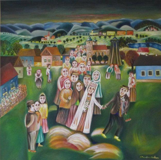 J. Považan – Krížska svadba, olej na plátne, 1984.