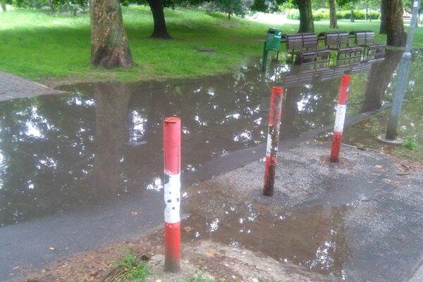 Takto vyzerá po daždi chodník v Bioparku na Ostredkoch.