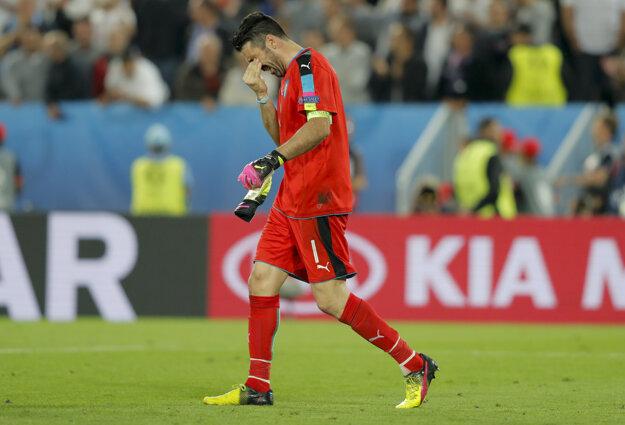 Brankár Talianska Gianluigi Buffon po rozstrele.